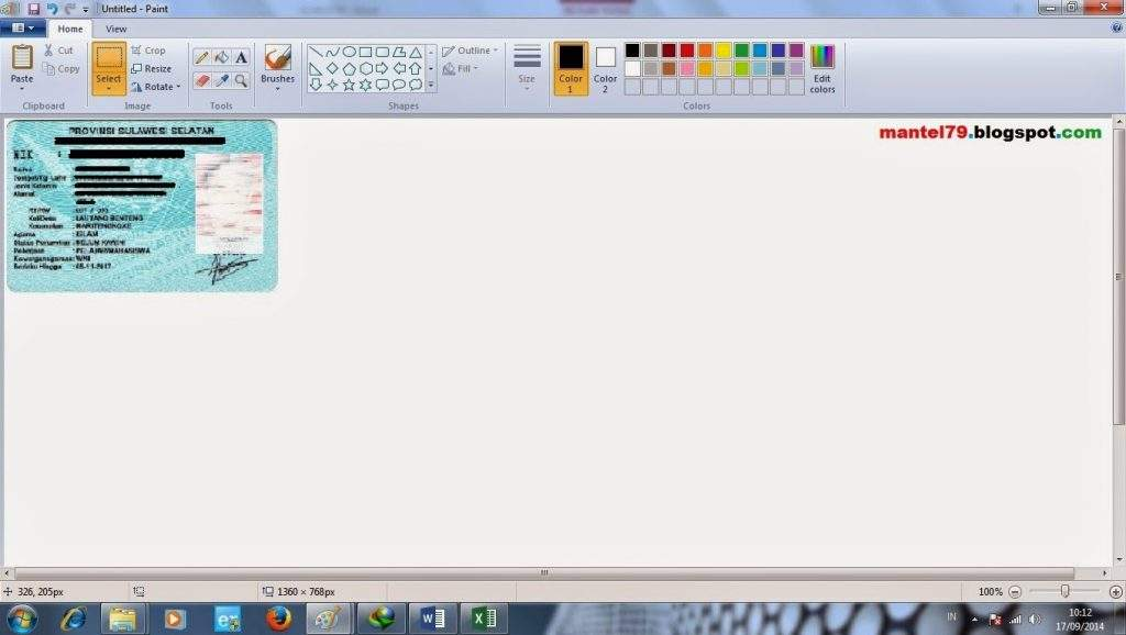 Menampilkan hasil copy image dari Word ke Paint