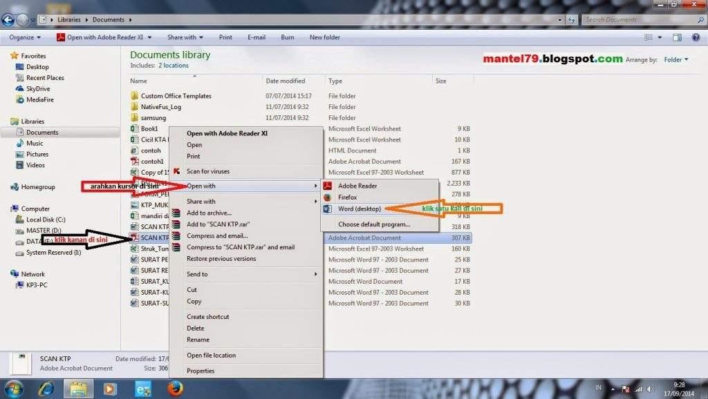 Cara membuka file dengan klik kanan