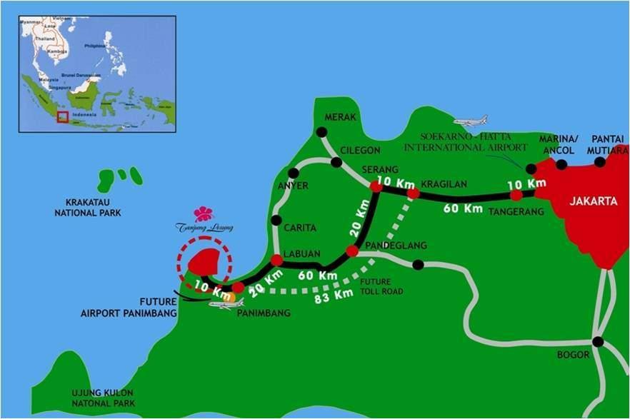 Peta Lokasi Pantai Tanjung Lesung